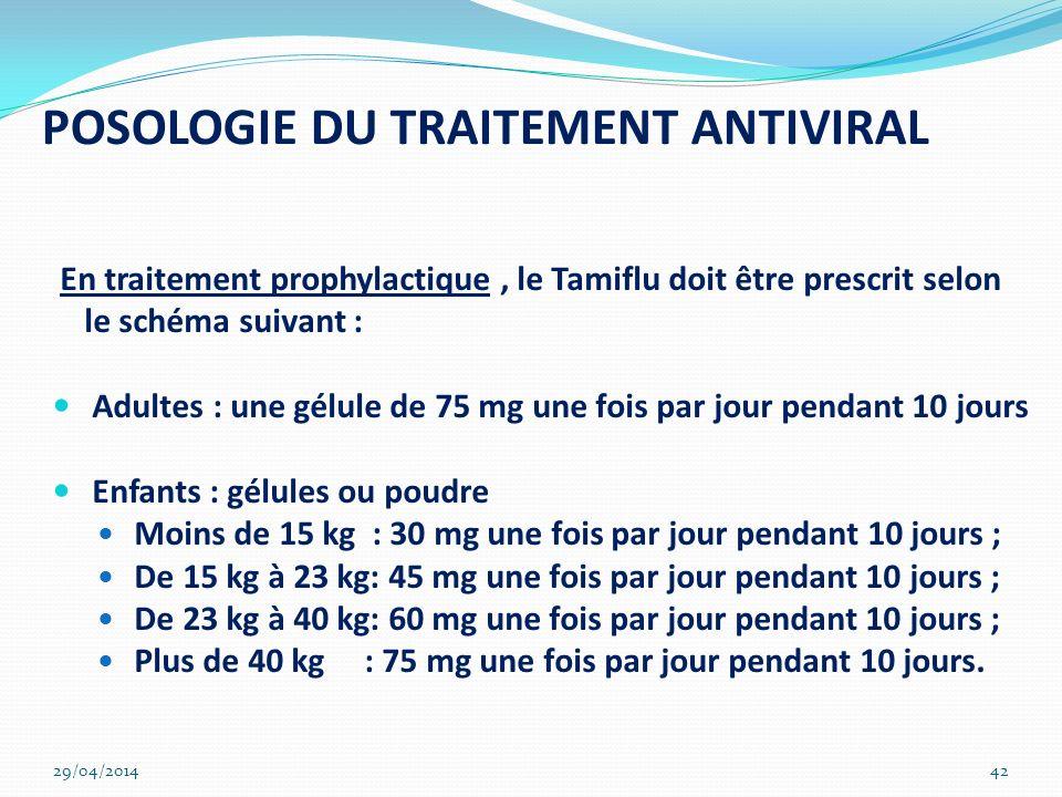 POSOLOGIE DU TRAITEMENT ANTIVIRAL En traitement prophylactique, le Tamiflu doit être prescrit selon le schéma suivant : Adultes : une gélule de 75 mg
