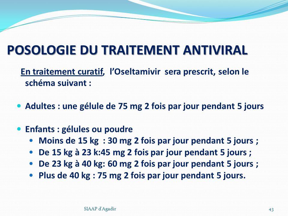 POSOLOGIE DU TRAITEMENT ANTIVIRAL En traitement curatif, lOseltamivir sera prescrit, selon le schéma suivant : Adultes : une gélule de 75 mg 2 fois pa