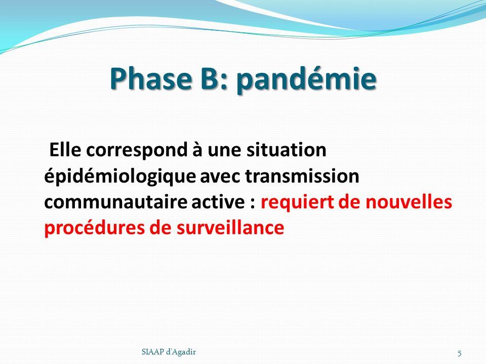 Phase B: pandémie Elle correspond à une situation épidémiologique avec transmission communautaire active : requiert de nouvelles procédures de surveil