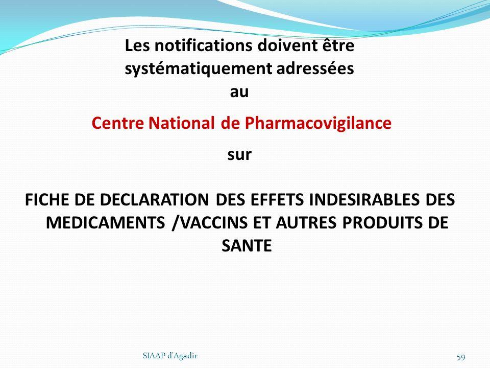 Les notifications doivent être systématiquement adressées au Centre National de Pharmacovigilance sur FICHE DE DECLARATION DES EFFETS INDESIRABLES DES