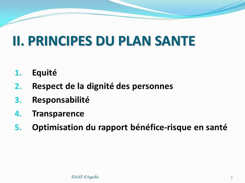 II. PRINCIPES DU PLAN SANTE 1. Equité 2. Respect de la dignité des personnes 3. Responsabilité 4. Transparence 5. Optimisation du rapport bénéfice-ris