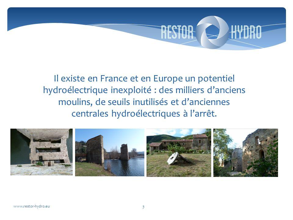 Il existe en France et en Europe un potentiel hydroélectrique inexploité : des milliers danciens moulins, de seuils inutilisés et danciennes centrales hydroélectriques à larrêt.