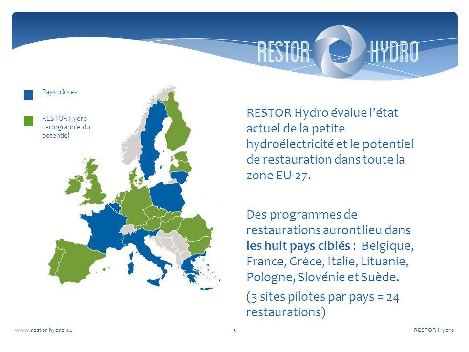RESTOR Hydrowww.restor-hydro.eu5 RESTOR Hydro évalue létat actuel de la petite hydroélectricité et le potentiel de restauration dans toute la zone EU-27.