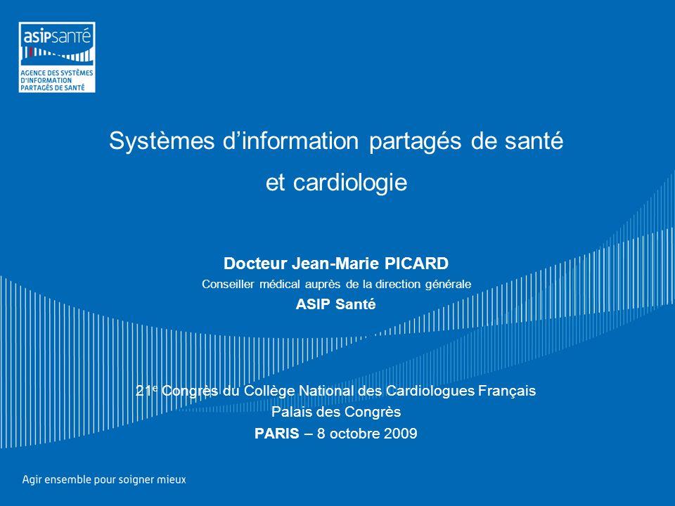 Systèmes dinformation partagés de santé et cardiologie Docteur Jean-Marie PICARD Conseiller médical auprès de la direction générale ASIP Santé 21 e Co