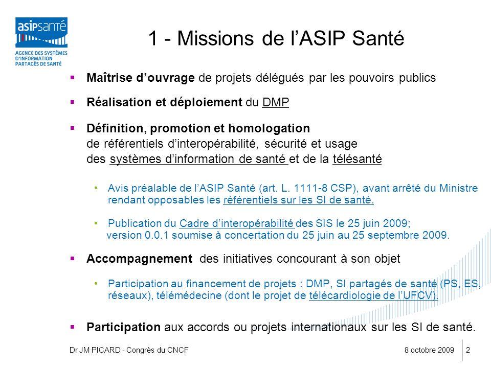 8 octobre 20092 1 - Missions de lASIP Santé Maîtrise douvrage de projets délégués par les pouvoirs publics Réalisation et déploiement du DMP Définitio