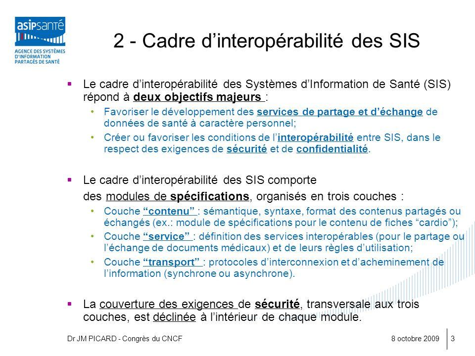 8 octobre 20093 2 - Cadre dinteropérabilité des SIS Le cadre dinteropérabilité des Systèmes dInformation de Santé (SIS) répond à deux objectifs majeur