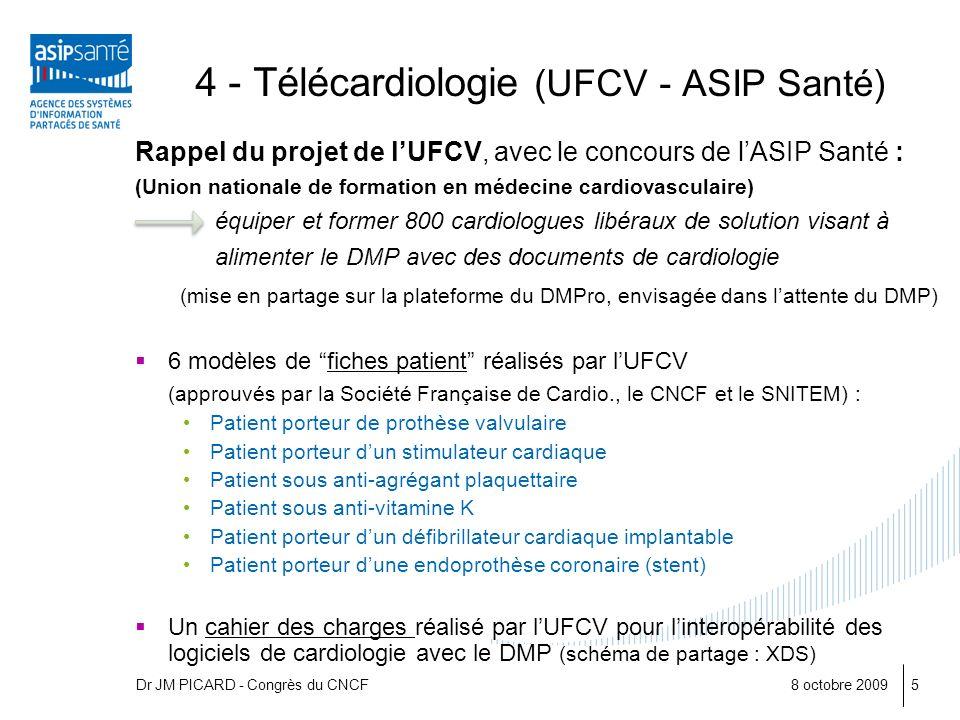 8 octobre 20095 4 - Télécardiologie (UFCV - ASIP Santé) Rappel du projet de lUFCV, avec le concours de lASIP Santé : (Union nationale de formation en