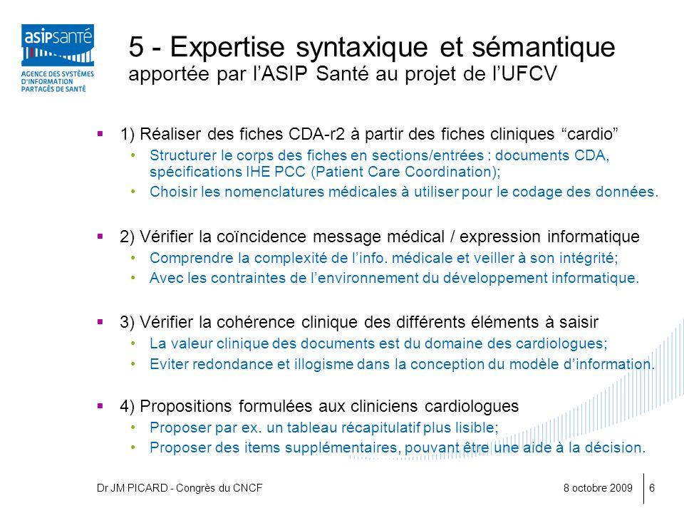 8 octobre 20096 5 - Expertise syntaxique et sémantique apportée par lASIP Santé au projet de lUFCV 1) Réaliser des fiches CDA-r2 à partir des fiches c