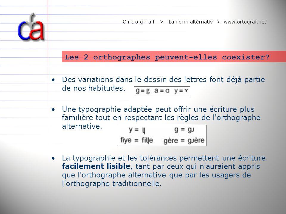 O r t o g r a f > La norm altèrnativ > www.ortograf.net Les 2 orthographes peuvent-elles coexister? Des variations dans le dessin des lettres font déj
