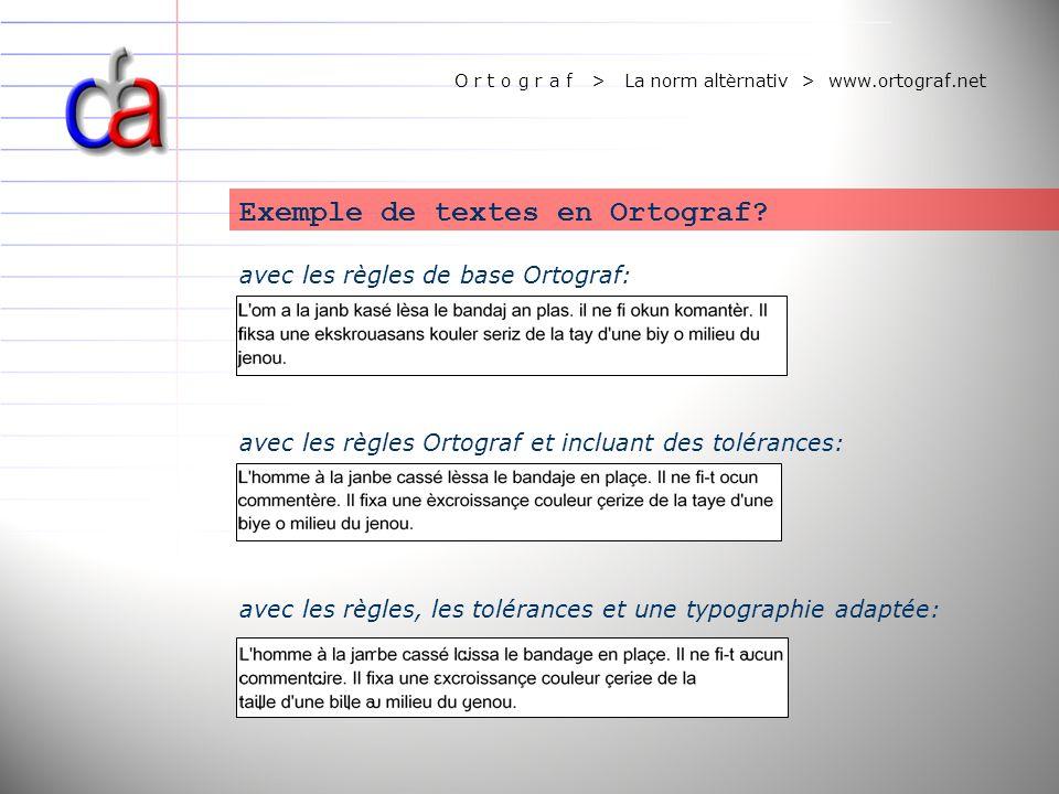 O r t o g r a f > La norm altèrnativ > www.ortograf.net avec les règles de base Ortograf: Exemple de textes en Ortograf? avec les règles Ortograf et i