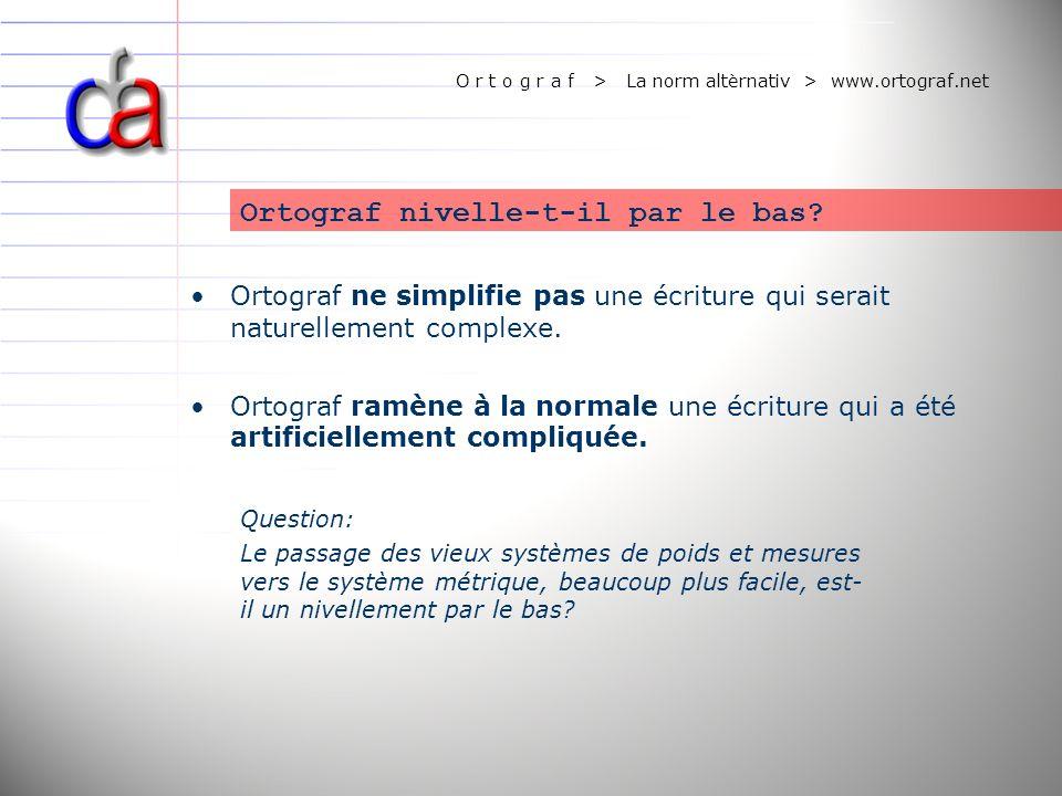 O r t o g r a f > La norm altèrnativ > www.ortograf.net Ortograf nivelle-t-il par le bas? Question: Le passage des vieux systèmes de poids et mesures