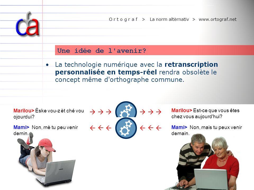 O r t o g r a f > La norm altèrnativ > www.ortograf.net Une idée de l'avenir? La technologie numérique avec la retranscription personnalisée en temps-