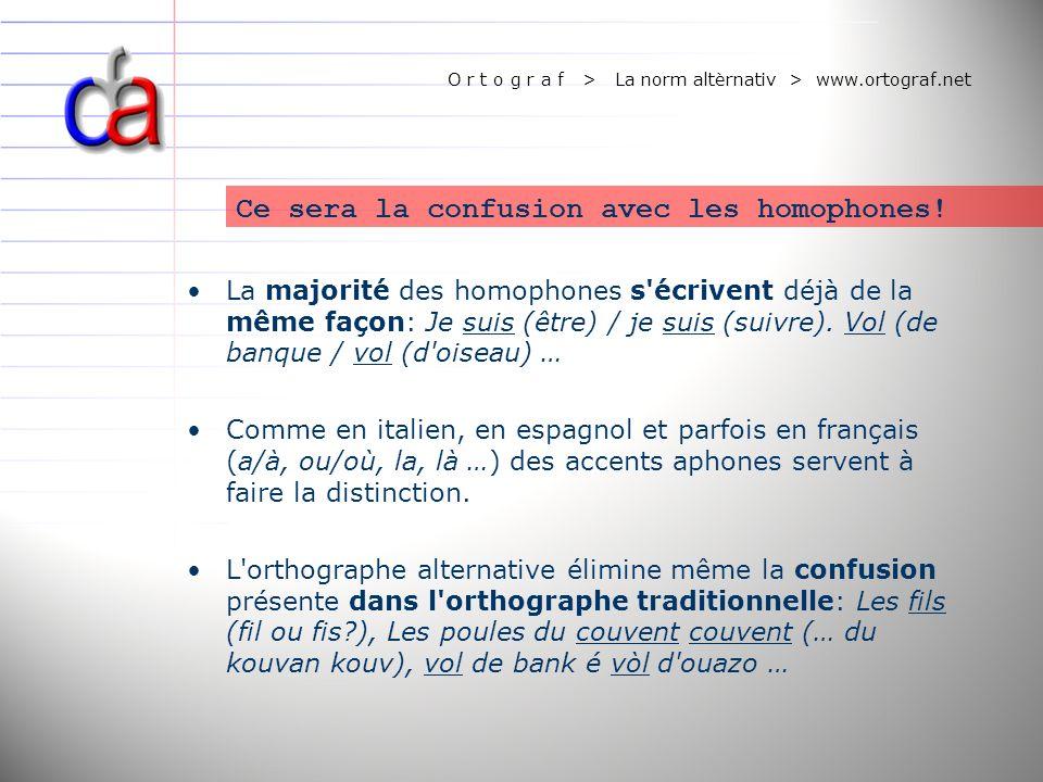 O r t o g r a f > La norm altèrnativ > www.ortograf.net Une idée de l avenir.