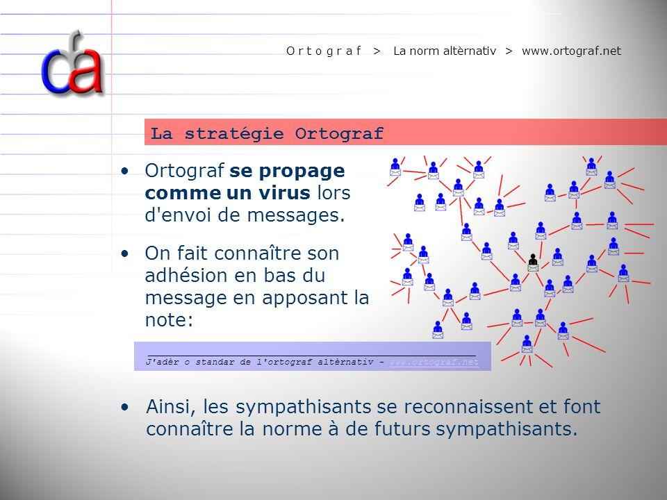 O r t o g r a f > La norm altèrnativ > www.ortograf.net Ortograf se propage comme un virus lors d'envoi de messages. On fait connaître son adhésion en