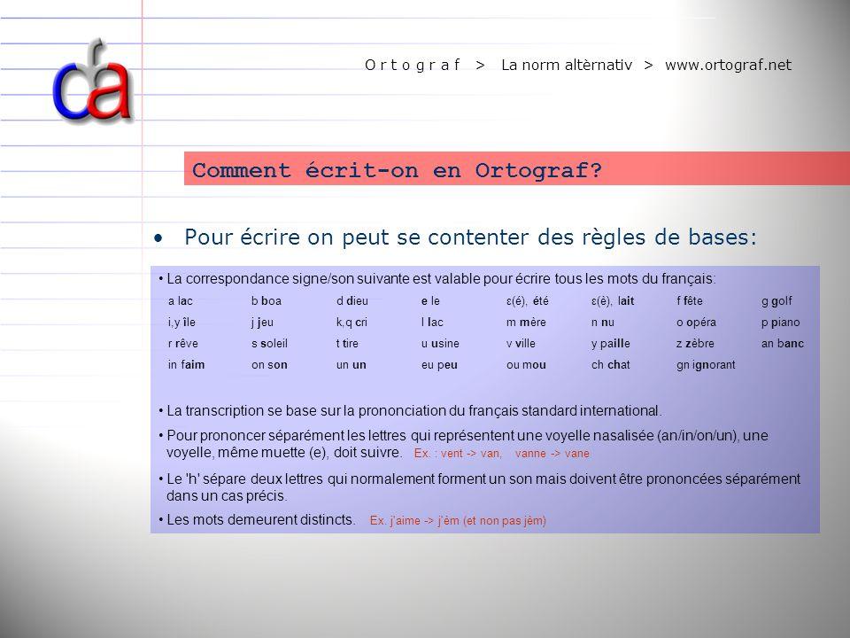 O r t o g r a f > La norm altèrnativ > www.ortograf.net Pour écrire on peut se contenter des règles de bases: Comment écrit-on en Ortograf? La corresp