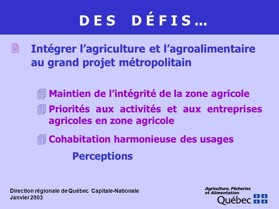 D E S D É F I S... 2 Intégrer lagriculture et lagroalimentaire au grand projet métropolitain 4 Maintien de lintégrité de la zone agricole 4 Priorités
