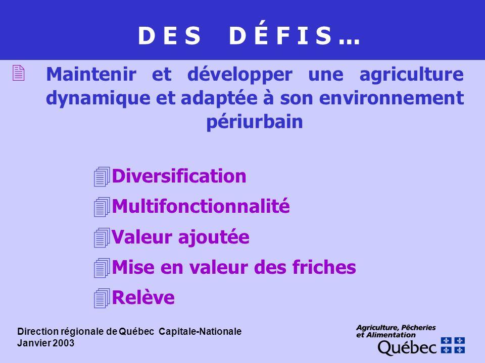 D E S D É F I S... 2 Maintenir et développer une agriculture dynamique et adaptée à son environnement périurbain 4 Diversification 4 Multifonctionnali
