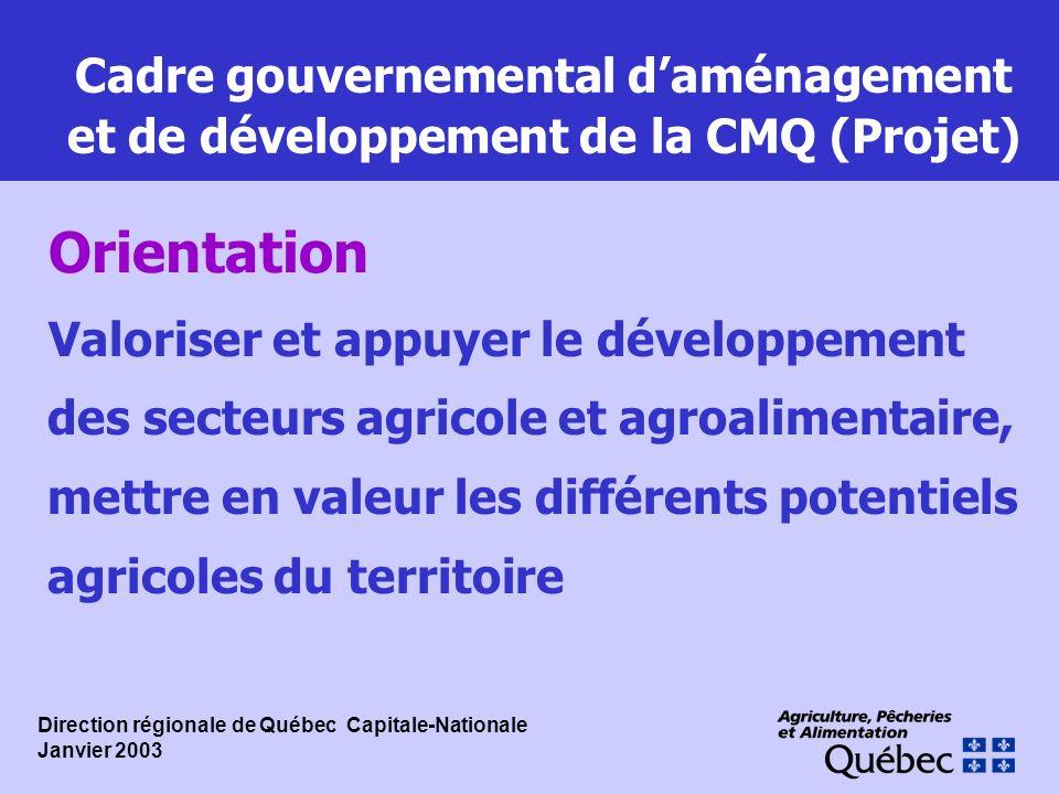 Cadre gouvernemental daménagement et de développement de la CMQ (Projet) Valoriser et appuyer le développement des secteurs agricole et agroalimentair