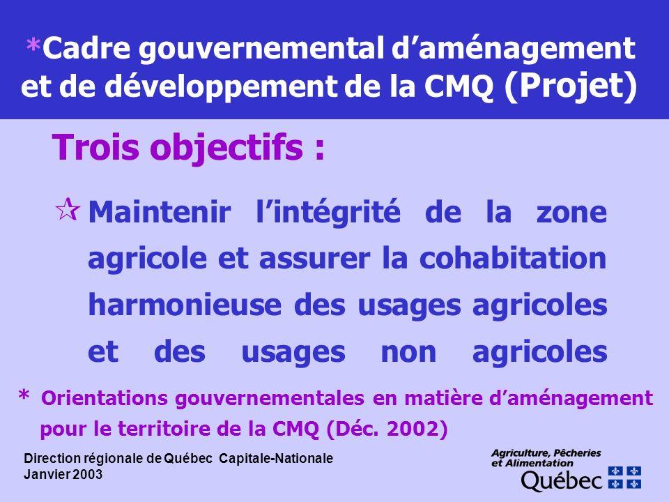 * Cadre gouvernemental daménagement et de développement de la CMQ (Projet) ¶ Maintenir lintégrité de la zone agricole et assurer la cohabitation harmo
