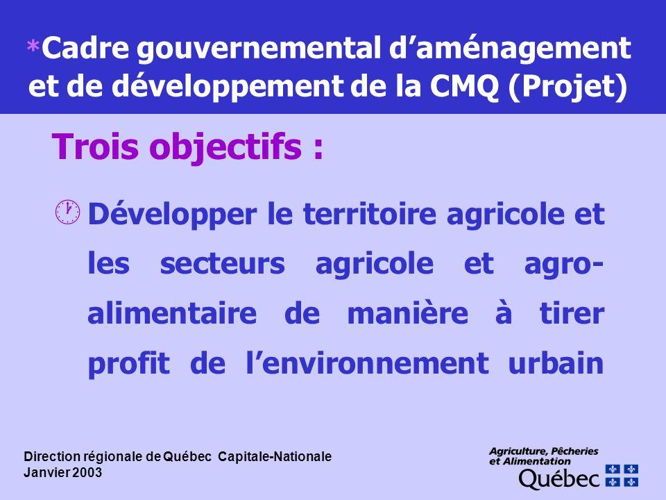 * Cadre gouvernemental daménagement et de développement de la CMQ (Projet) · Développer le territoire agricole et les secteurs agricole et agro- alime