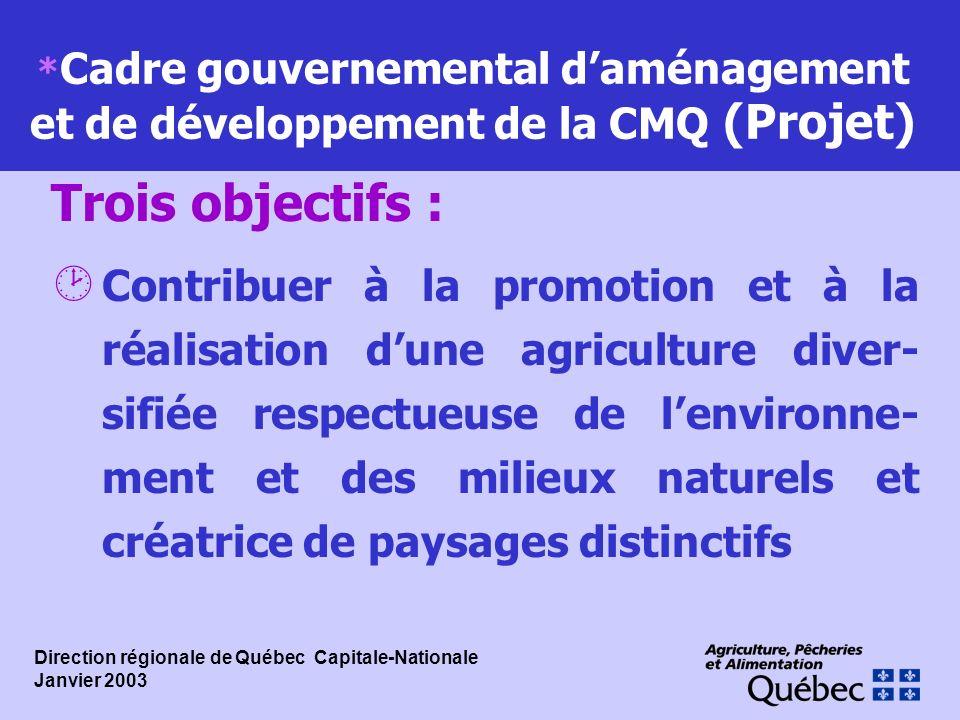 * Cadre gouvernemental daménagement et de développement de la CMQ (Projet) ¸ Contribuer à la promotion et à la réalisation dune agriculture diver- sif