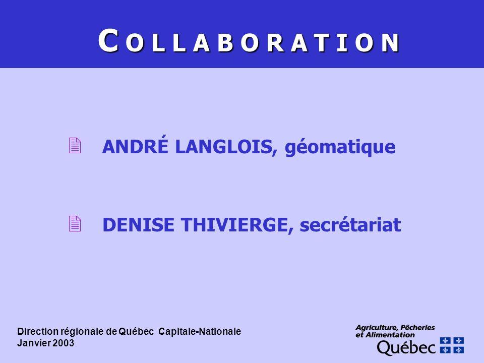 C O L L A B O R A T I O N 2 ANDRÉ LANGLOIS, géomatique 2 DENISE THIVIERGE, secrétariat Direction régionale de Québec  Capitale-Nationale Janvier 2003