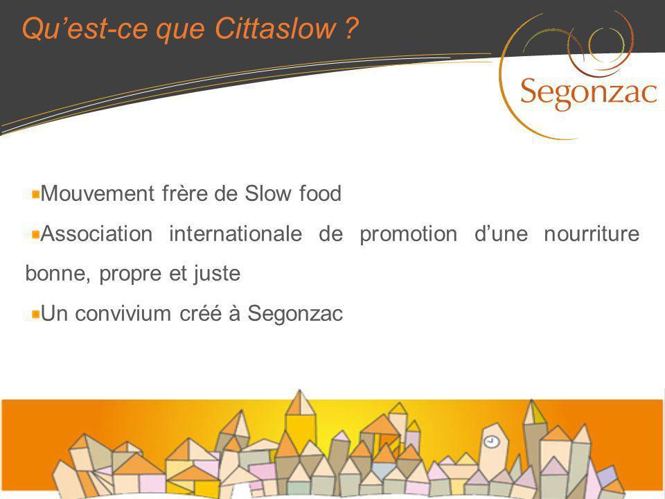 Quest-ce que Cittaslow ? Mouvement frère de Slow food Association internationale de promotion dune nourriture bonne, propre et juste Un convivium créé