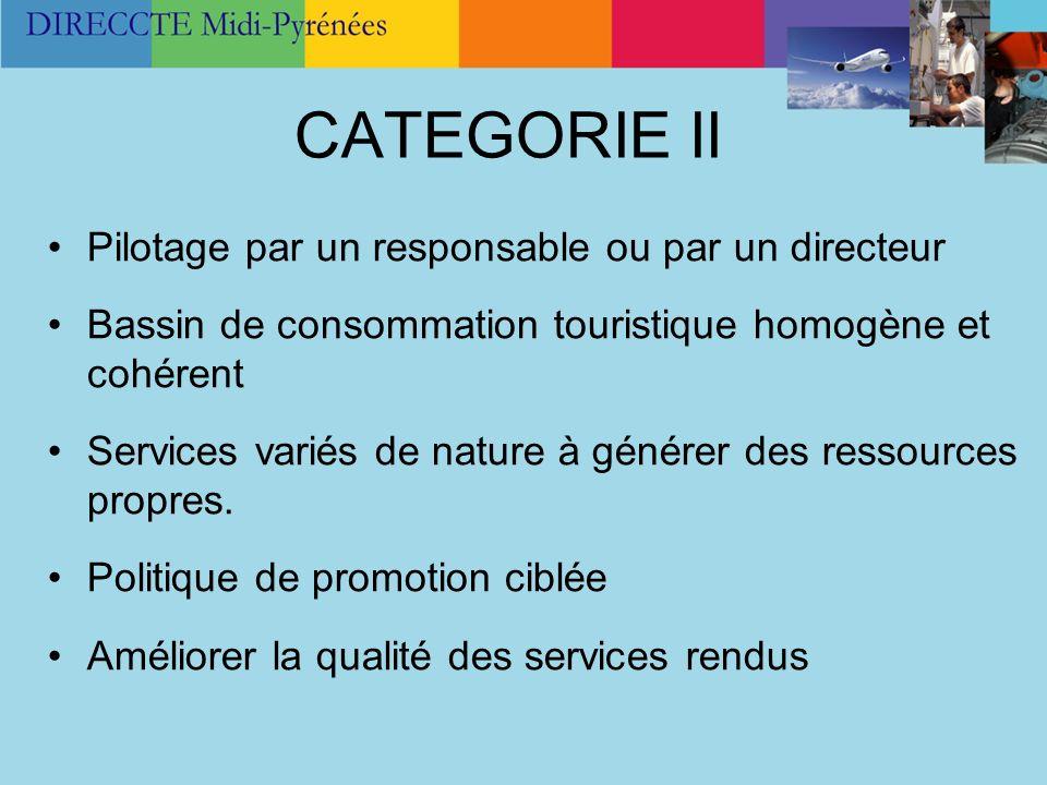 CATEGORIE II Pilotage par un responsable ou par un directeur Bassin de consommation touristique homogène et cohérent Services variés de nature à génér