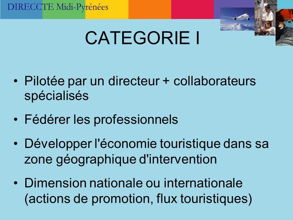 CATEGORIE I Pilotée par un directeur + collaborateurs spécialisés Fédérer les professionnels Développer l'économie touristique dans sa zone géographiq