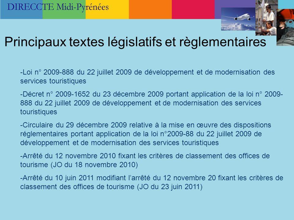 -Loi n° 2009-888 du 22 juillet 2009 de développement et de modernisation des services touristiques -Décret n° 2009-1652 du 23 décembre 2009 portant ap