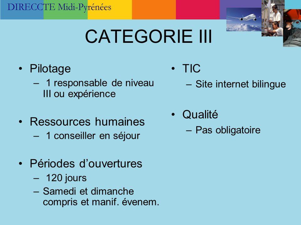 CATEGORIE III Pilotage – 1 responsable de niveau III ou expérience Ressources humaines – 1 conseiller en séjour Périodes douvertures – 120 jours –Same