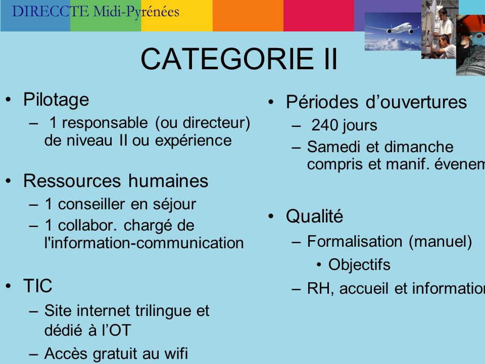 CATEGORIE II Pilotage – 1 responsable (ou directeur) de niveau II ou expérience Ressources humaines –1 conseiller en séjour –1 collabor. chargé de l'i