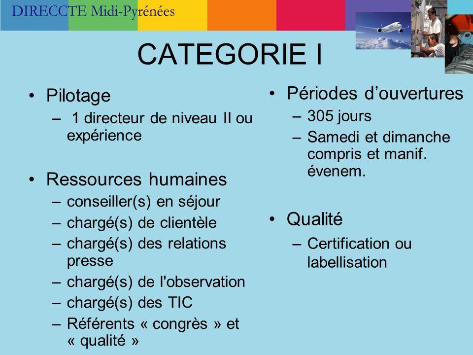 CATEGORIE I Pilotage – 1 directeur de niveau II ou expérience Ressources humaines –conseiller(s) en séjour –chargé(s) de clientèle –chargé(s) des rela