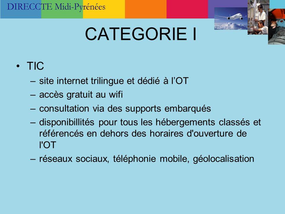 CATEGORIE I TIC –site internet trilingue et dédié à lOT –accès gratuit au wifi –consultation via des supports embarqués –disponibillités pour tous les