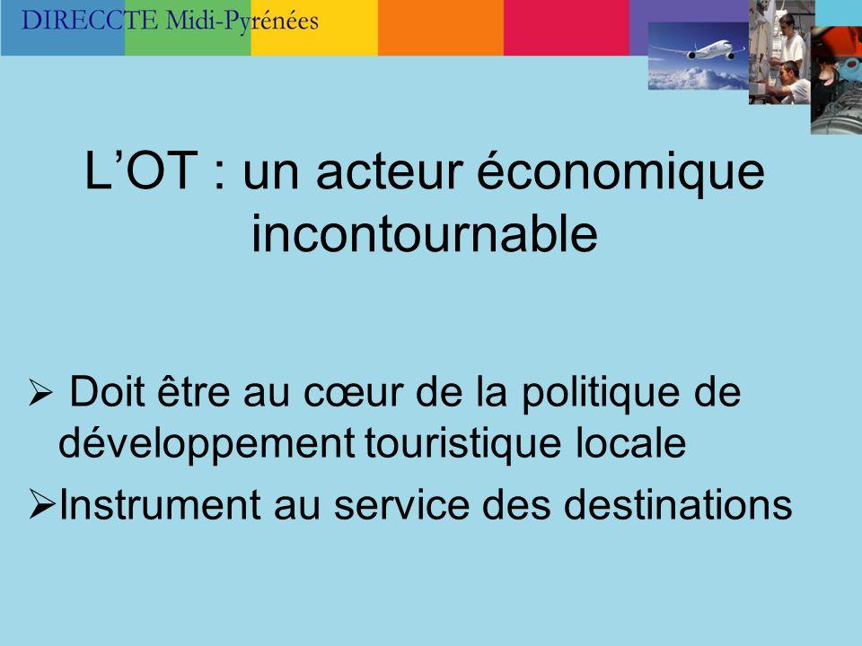LOT : un acteur économique incontournable Doit être au cœur de la politique de développement touristique locale Instrument au service des destinations