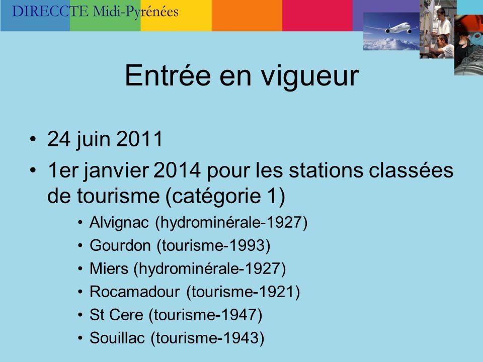 Entrée en vigueur 24 juin 2011 1er janvier 2014 pour les stations classées de tourisme (catégorie 1) Alvignac (hydrominérale-1927) Gourdon (tourisme-1