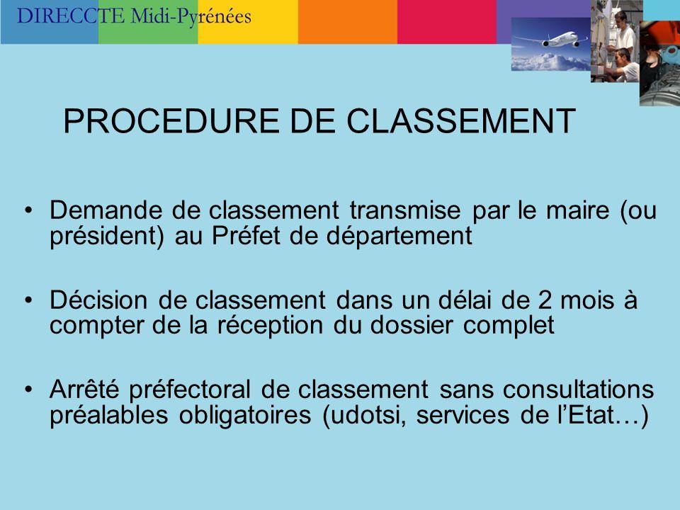 PROCEDURE DE CLASSEMENT Demande de classement transmise par le maire (ou président) au Préfet de département Décision de classement dans un délai de 2