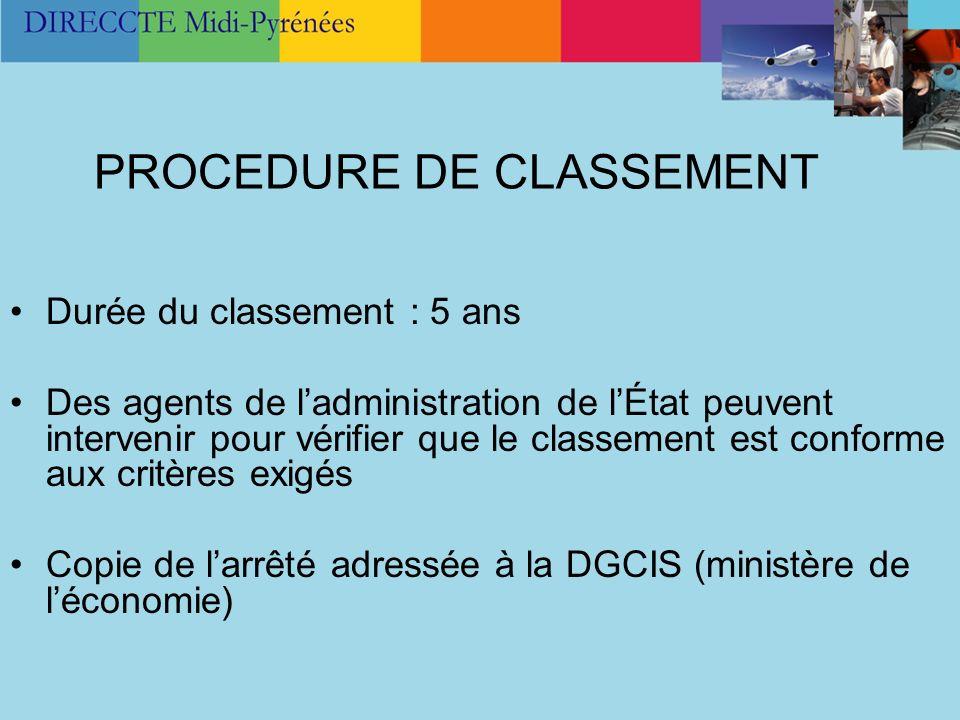 PROCEDURE DE CLASSEMENT Durée du classement : 5 ans Des agents de ladministration de lÉtat peuvent intervenir pour vérifier que le classement est conf