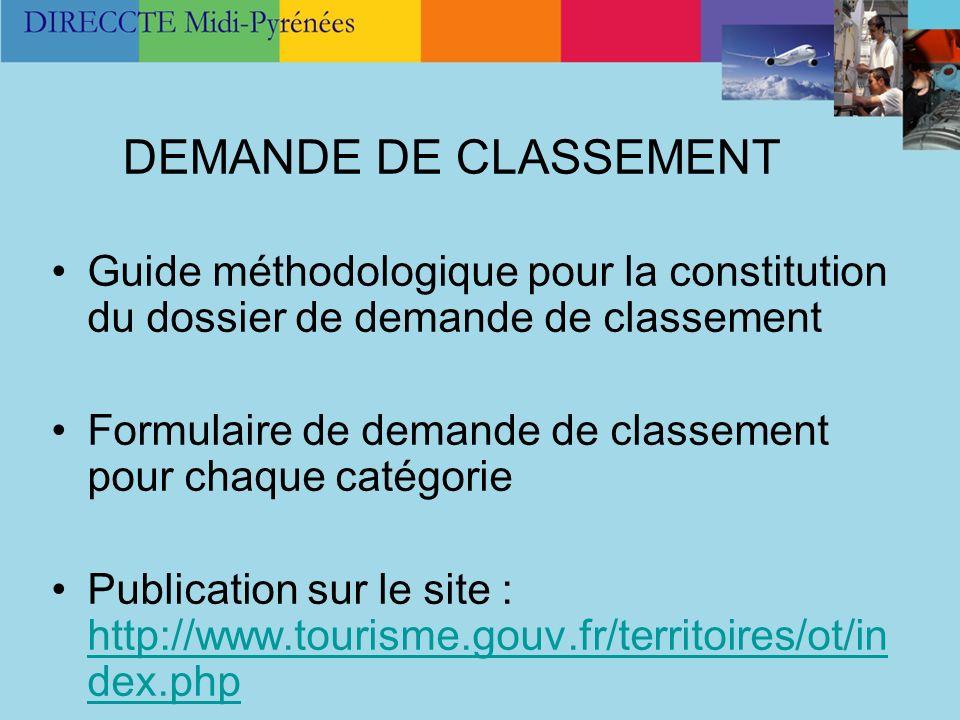 DEMANDE DE CLASSEMENT Guide méthodologique pour la constitution du dossier de demande de classement Formulaire de demande de classement pour chaque ca