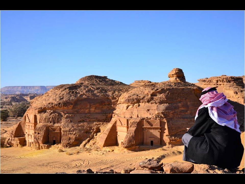 Niché dans le désert, rochers gigantesques émergent utilisés pour placer la ville, qui comprend de nombreux palais sculptés, des temples et des tombea