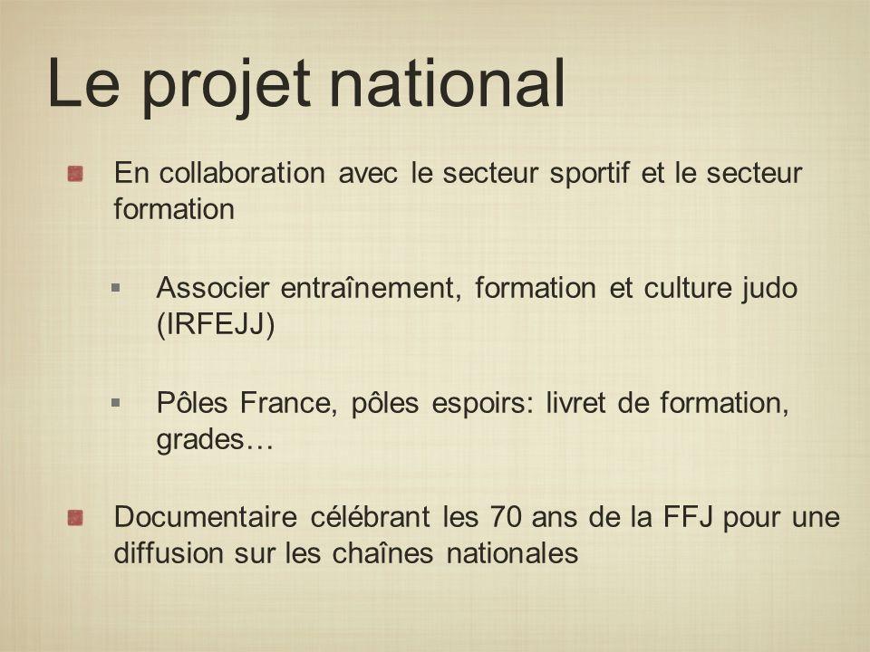 Le projet national En collaboration avec le secteur sportif et le secteur formation Associer entraînement, formation et culture judo (IRFEJJ) Pôles Fr