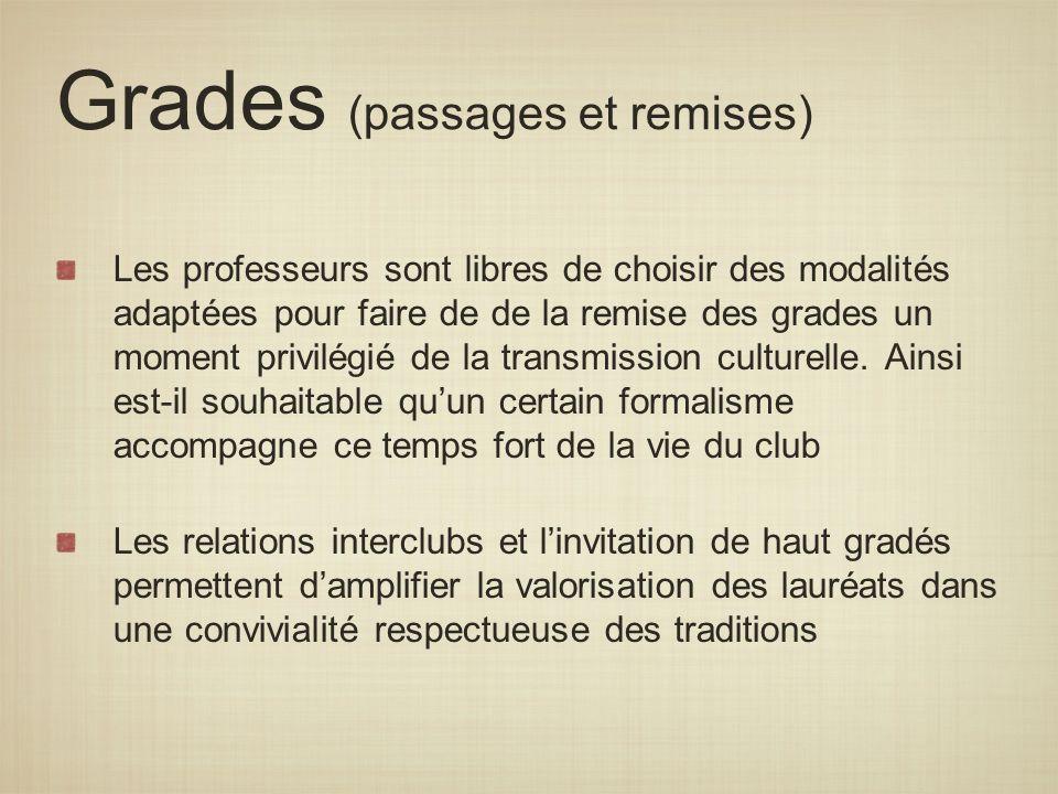 Grades (passages et remises) Les professeurs sont libres de choisir des modalités adaptées pour faire de de la remise des grades un moment privilégié