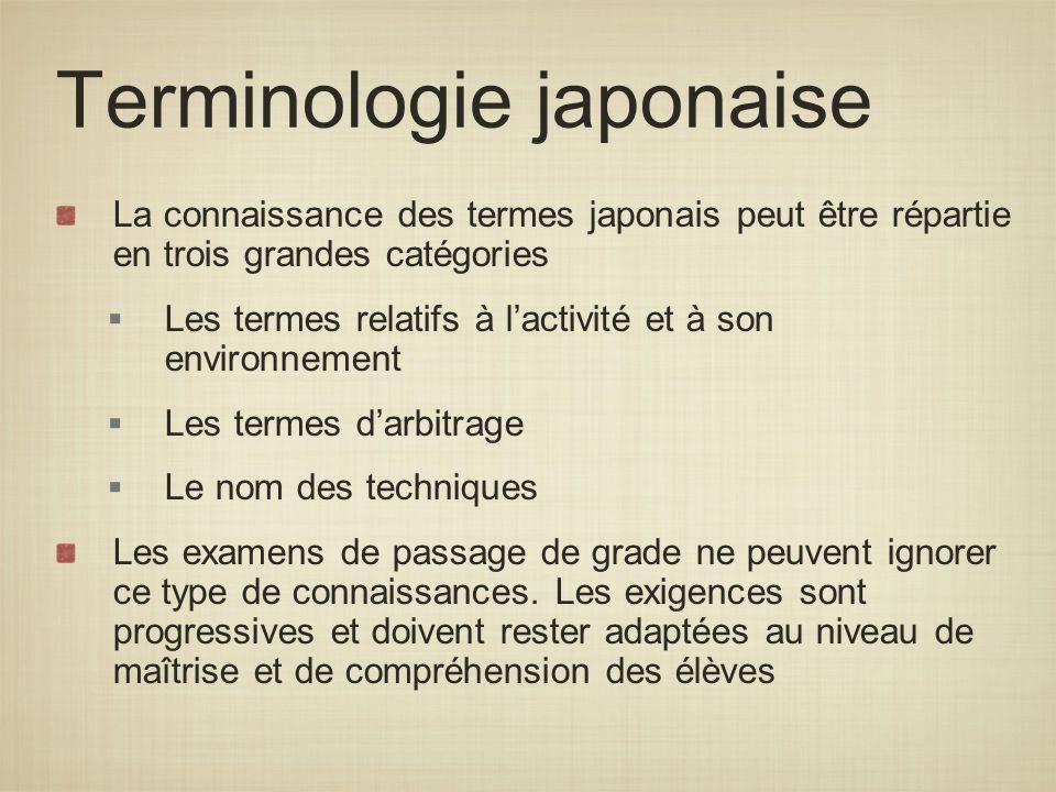 Terminologie japonaise La connaissance des termes japonais peut être répartie en trois grandes catégories Les termes relatifs à lactivité et à son env