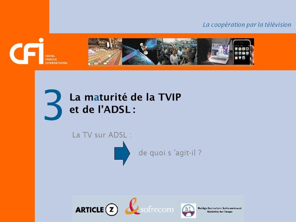 La coopération par la télévision 3 La maturité de la TVIP et de lADSL : La TV sur ADSL : de quoi s 'agit-il ?