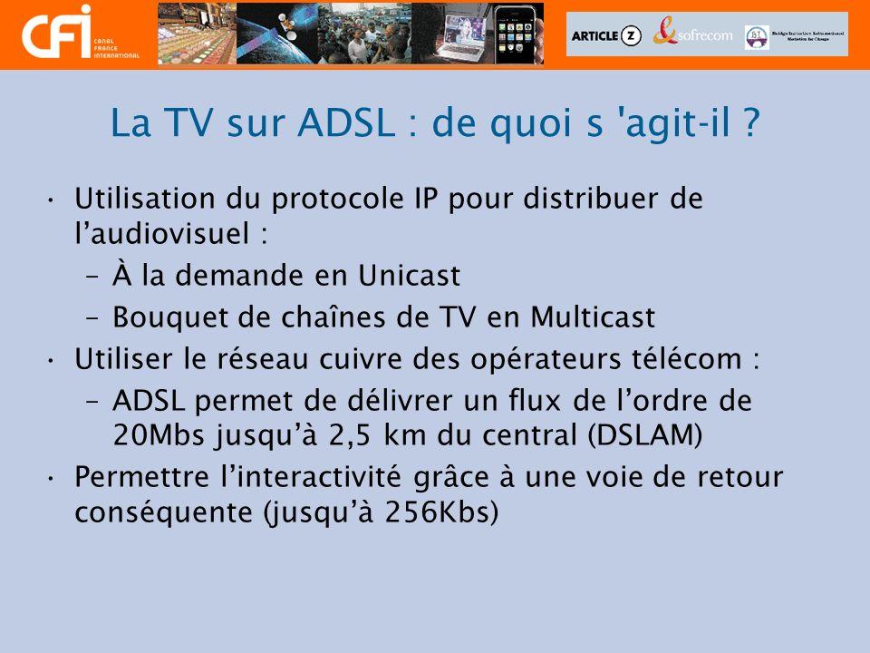 La TV sur ADSL : de quoi s 'agit-il ? Utilisation du protocole IP pour distribuer de laudiovisuel : –À la demande en Unicast –Bouquet de chaînes de TV