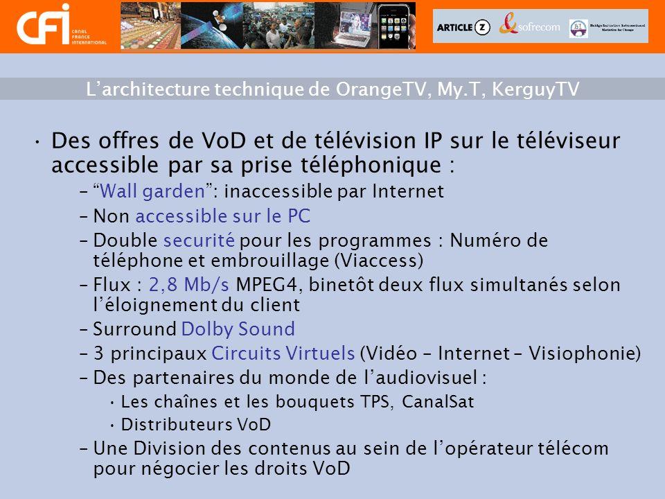 Des offres de VoD et de télévision IP sur le téléviseur accessible par sa prise téléphonique : –Wall garden: inaccessible par Internet –Non accessible