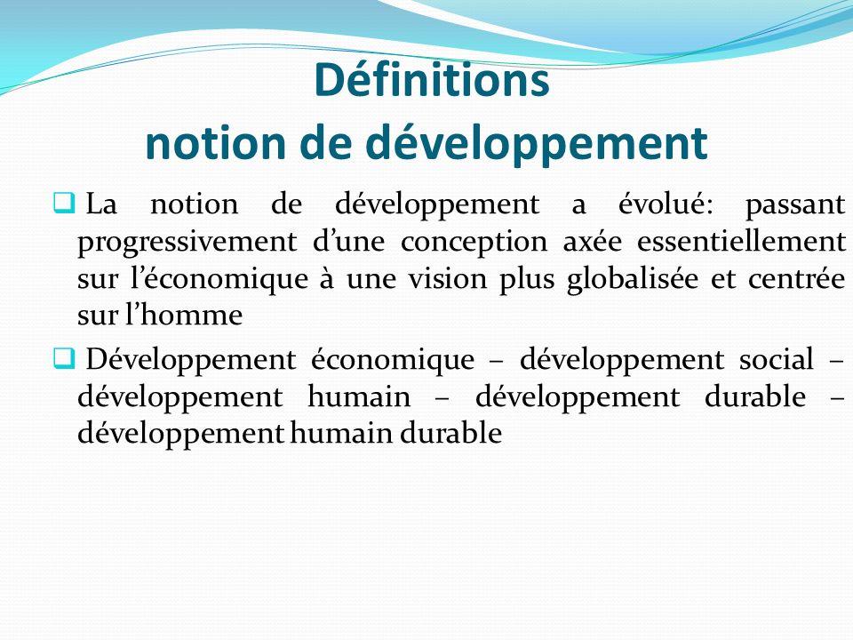 Définitions notion de développement La notion de développement a évolué: passant progressivement dune conception axée essentiellement sur léconomique