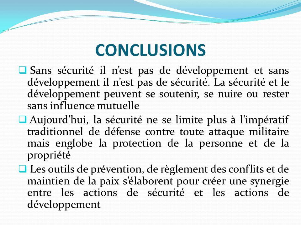 CONCLUSIONS Sans sécurité il nest pas de développement et sans développement il nest pas de sécurité. La sécurité et le développement peuvent se soute