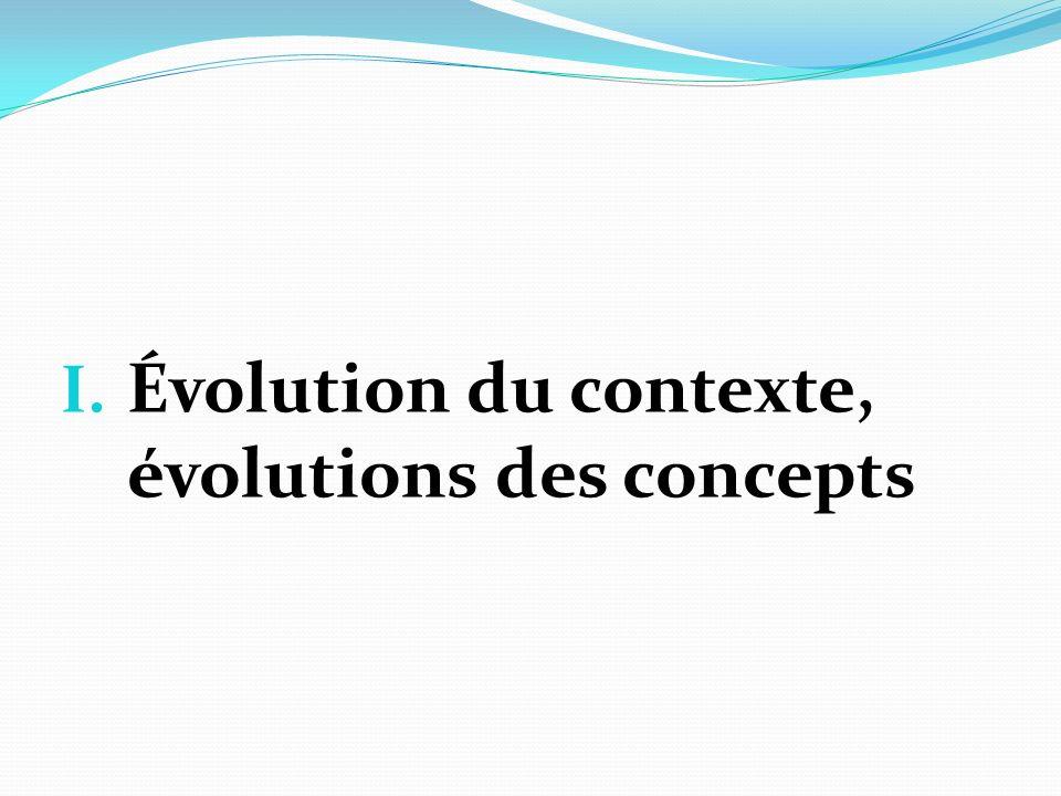 I. Évolution du contexte, évolutions des concepts