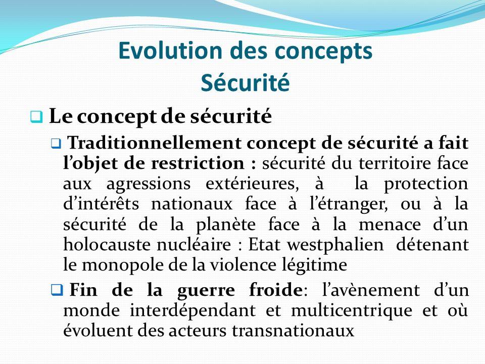 Evolution des concepts Sécurité Le concept de sécurité Traditionnellement concept de sécurité a fait lobjet de restriction : sécurité du territoire fa